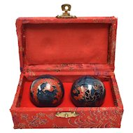 Chinese Red & Blue Dragon Cloisonné Chiming Baoding/Exercise Balls w/ Original Silk Case