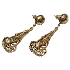 Etruscan Inspired Drop Earrings w/ Simulated Pearl