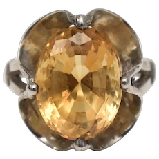 Gold Filled w/ Prong Set Oval Cut Citrine Ring - Size 7 3/4