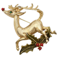 Rudolph The Red Nose Reindeer w/ Holly Sprig & Berries Holiday Pin/Brooch
