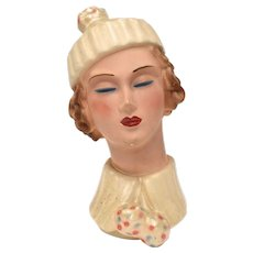c1920s Art Deco Lady in Winter Hat Chalkware Bust ~ Small Female Mannequin Display or Art Sculpture
