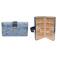 Blue & Gold Jewelry Hard Travel Case w/ Individual Compartments