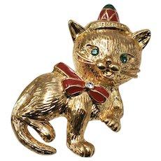 c1960s Feliz Navidad Red Enamel Christmas Kitty Cat w/ Green Rhinestone Eyes, Sombrero & Bow Brooch/Pin