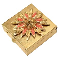 c1960s Florenza Faux Coral Goldtone Pill, Trinket or Tooth Fairy in Original Box