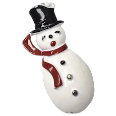 c1950s Gerry's White Enamel Frosty the Snowman w/ Black Top Hat & Red Scarf Christmas Winter Pin/Brooch