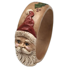 Early Jim Shore Christmas Santa Carved Figural Country Woodland Holly Accent Bangle Bracelet