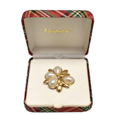 Napier Signed Simulated White Pearl Gold-tone Pin/Brooch in Original Christmas Red & Green Plaid Presentation Box
