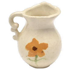 Dollhouse Miniature Glazed Wash Basin Pitcher w/ Hand-Painted Orange Flower