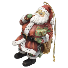 c1998 Susan Winget 1st Edition Jolly Santa Claus w/ Tobacco Pipe & Bag of Toys Christmas Ornament