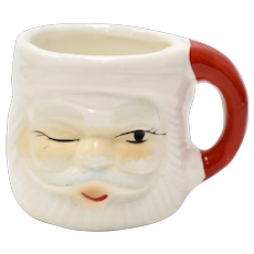 Small Winking Eye Santa Claus Figural Glazed Ceramic Children's Size Christmas Mug