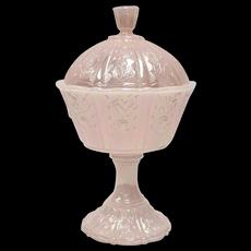 Fenton Pink Carnival Art Glass Pedestal Candy Bowl Dish w/ Original Lid
