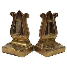 Philadelphia Manufacturing Co. Mid Century Brass Lyre Harp Art Deco Style Bookends