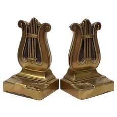 Philadelphia Manufacturing Co. Mid Century Brass Lyre Harp Art Deco Style Bookends
