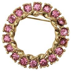 Signed Gerry's Pink Rhinestone Circle Halo Wreath Brooch / Pin