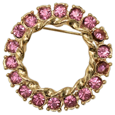 Signed Gerry's Pink Rhinestone Circle Halo Wreath Brooch / Pin