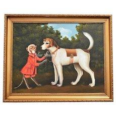 19th Century Inspired Monkey Pet w/ Foxhound Hunting Dog Acrylic on Canvas w/ Gold Gilt Frame