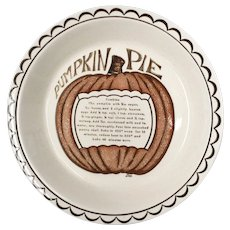 Signed Dee Ceramic Pumpkin Pie Recipe Plate Baking Dish