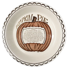 Signed Dee Ceramic Pumpkin Pie Recipe Plate Baking Dish