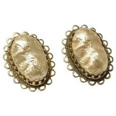 76c098b031e c1960s Signed Freirich Simulated Gold Biwa Pearl Cabochon Clip Earrings