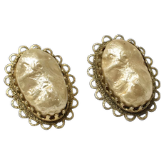 c1960s Signed Freirich Simulated Gold Biwa Pearl Cabochon Clip Earrings