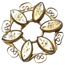 12k Gold Filled Catamore Signed Circular Pin/Brooch w/ Etched Flowers & Filigree