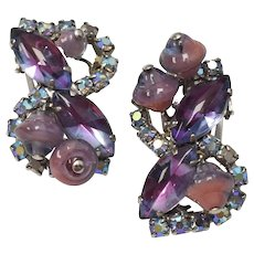 Unsigned Designer Purple & Blue Glass Bead & Aurora Borealis Rhinestone Clip Earrings