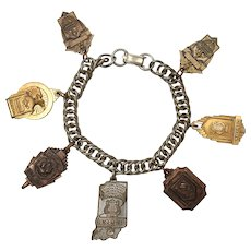 Rare Art Deco Girl's Academic School Honors 7 Charm Bracelet ~ Music, Editor, Orchestra, Vocal, Honor Student Copper, Brass, Gold Plated Charms