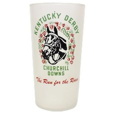 c1953 Kentucky Derby Churchill Downs 'The Run for the Roses' Libbey Frosted Glass Tumbler with 1875 - 1952 Winner List
