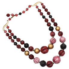 c1960s West Germany Signed Double Strand Cranberry Red, Gold & Black Lucite or Acrylic Bead Necklace