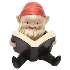Homco Reading Christmas Elf Figurine