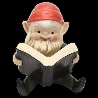 Homco Reading Christmas Elf Figurine