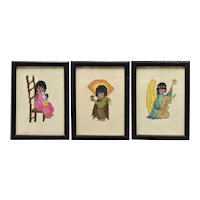 DeGrazia Inspired Needle Point Patterns in Black Wood Frame - Set of 3