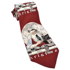 "c1993 Norman Rockwell's ""Santa's Expenses"" Men's Silk Tie by The Saturday Evening Post"