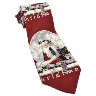 """c1993 Norman Rockwell's """"Santa's Expenses"""" Men's Silk Tie by The Saturday Evening Post"""