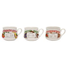 Set of 3 Onion , Tomato, Chicken Stoneware Crock Soup Bowl Mugs