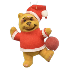 c1960s Walt Disney Winnie the Pooh Santa w/ Red Balloon Original Flocked Christmas Ornament ~ Original Label