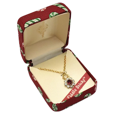 Fiddle Sticks Dainty Red Ruby Glass Rhinestone Flower Pendant Necklace in Original Fabric Box