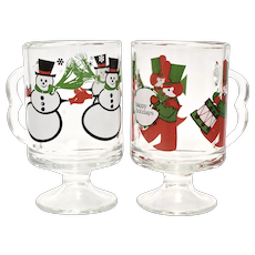 c1960s 'Happy Holidays' Toy Soldier Christmas Parade & Snowman Double Handle Irish Coffee or Hot Cocoa Footed Glass Mugs