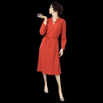c1960s Leslie Pomer Christmas Red Knit Long Sleeve Dress w/ Fabric Buttons & Original Belt