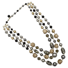 c1960s Triple Strand Japan Faux Blue-Gray Pearls, Black Glass & Gold Foil Art Glass Bead Necklace