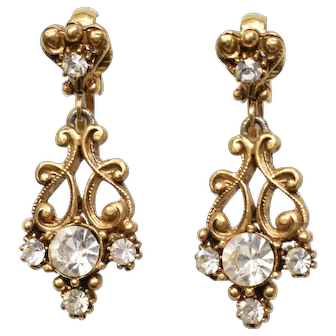 Florenza Signed Victorian Revival Clear Crystal Stone Dangle Clip Earrings