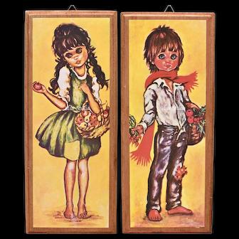 c1960s F. Idylle Jolylle Big Eyed Girl & Boy Art Print on Wood Wall Hanging