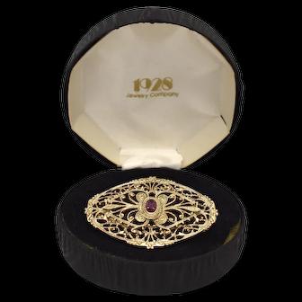 1928 Jewelry Co. Simulated Purple Amethyst Glass Rhinestone Goldtone Filigree Brooch/Pin