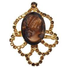 Large Juliana D & E Topaz Brown Rhinestone Art Glass Cameo Brooch/Pin Pendant Delizza Elster