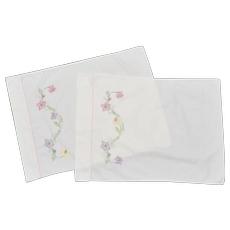 Pair of Hand-embroidered Floral Cream Colored Pillowcases