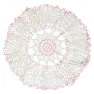 Pink & Cream Colored Hand-crafted Circular Crochet Doily