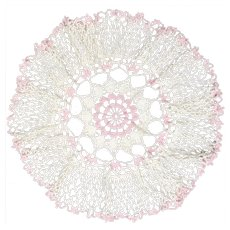 "Large 16"" Diameter Pink & Cream White Handcrafted Round Crochet Lace Doily"