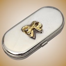 Silverplate Oblong Hinged Pill Box w/ Gold Plated Ribbon Bow Accent & Mirror