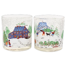 """Artist """"Conrad"""" Signed Christmas Themed Scene Old-Fashioned Glasses - Set of 2"""