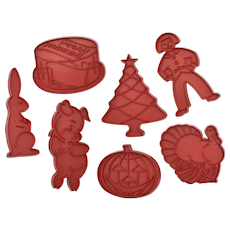 Set of 7 Large Tupperware Holiday/Occasion Red Cookie Cutters w/ Handles